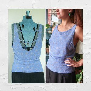 90's VTG Byer Too! Blue Sparkly Open Back Top